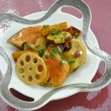 焼き野菜と鮭のポン酢あん